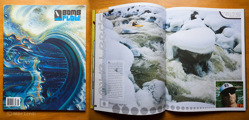 (photo right) Brian Ward kayaking Nutcracker Rapid on the North Fork Payette River in Idaho during the winter. Bomb Flow Magazine 1st Issue.