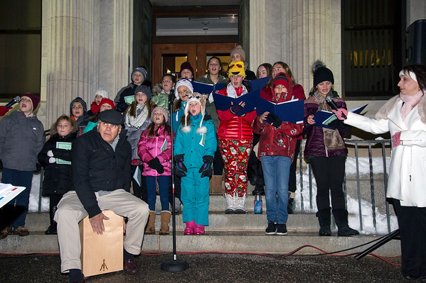 12/03/19 Wesley Bunnell | Staff The 68th annual Bristol Carol Sing and 29th annual Tree Lighting presented by Webster Bank and the Central CT Chambers of Commerce took place on Tuesday night outside to Webster Bank at 150 Main St. The St. Joseph Church Children & Youth Choirs perform.
