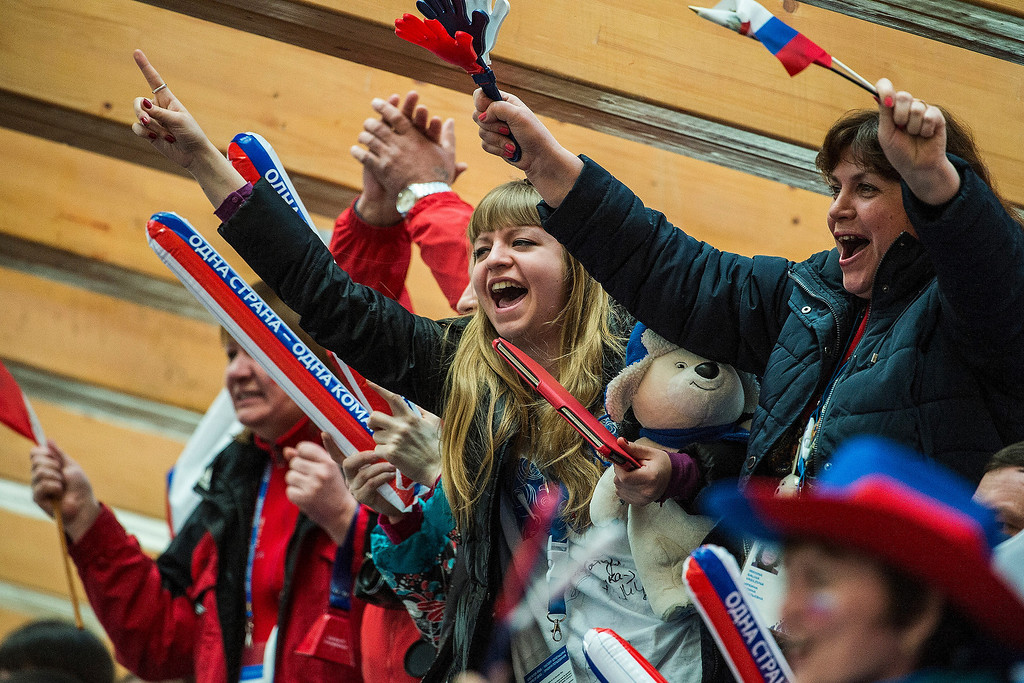 . Russian fans cheer during the four-man bobsled competition at Sanki Sliding Center during the 2014 Sochi Olympics Sunday February 23, 2014. They won the bronze medal with a cumulative time of 3:40.99.  (Photo by Chris Detrick/The Salt Lake Tribune)