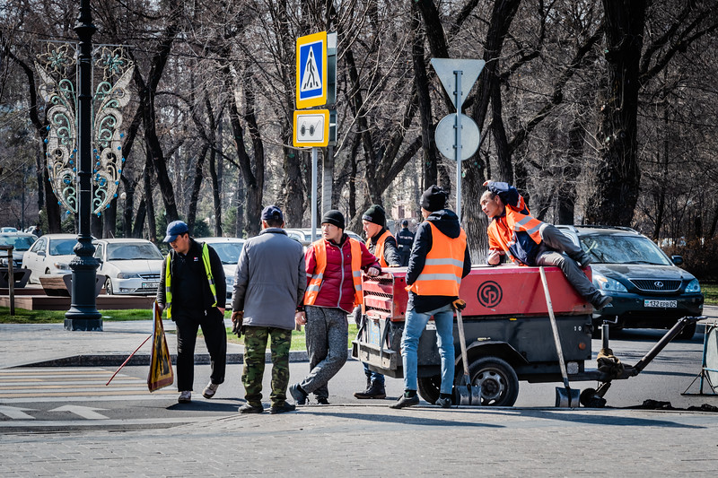 Some workers at Almaty's streets
