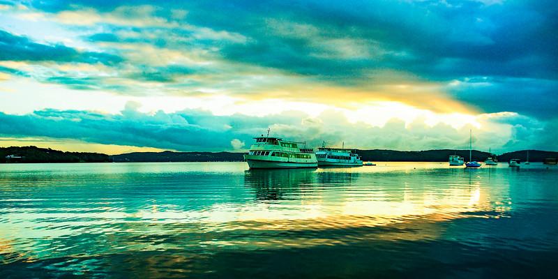 Unusuall cloudy Sunrise Seascape. Australia.