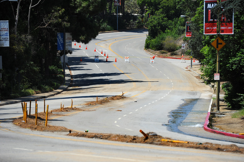 . Sunset Boulevard remains close by UCLA, Wednesday, July 30, 2014. (Photo by Michael Owen Baker/Los Angeles Daily News)