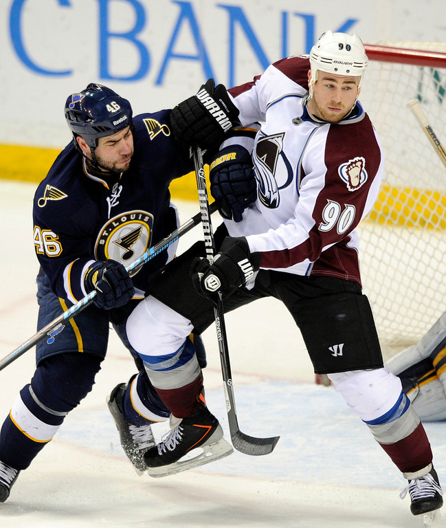 . St. Louis Blues\' Roman Polak (46), of Czech Republic, and Colorado Avalanche\'s Ryan O\'Reilly (90) fight for position during the third period of an NHL hockey game, Saturday, April 5, 2014, in St. Louis. (AP Photo/Bill Boyce)