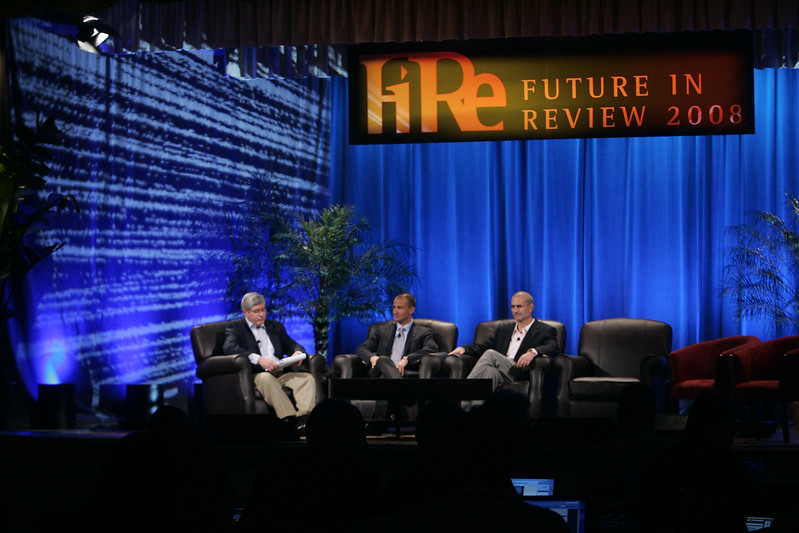 """""""Fixing Healthcare II: Using Technology to Empower the Consumer"""": Moderator Doug Smith (L), Martin's Point Health Care; Roy Schoenberg, American Well Systems; and Peter Neupert, Health Solutions Group, Microsoft"""