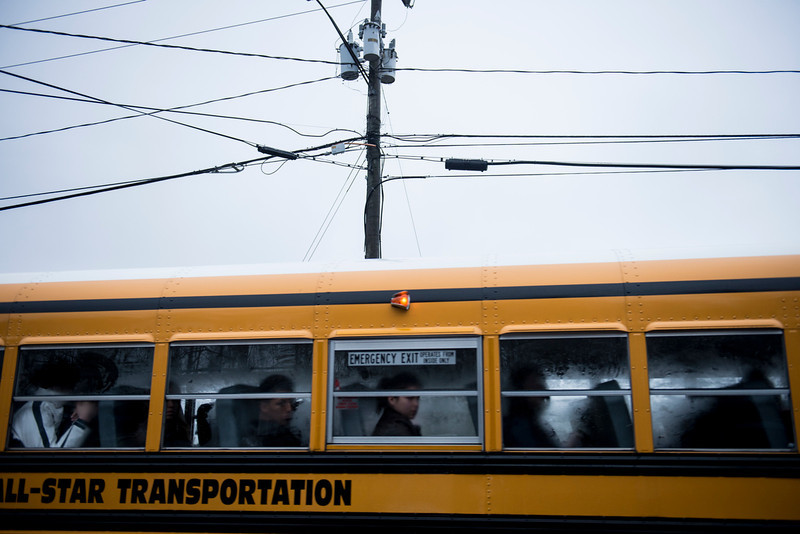 . A school bus takes students to Newtown High School December 18, 2012 in Newtown, Connecticut. Students in Newtown, excluding Sandy Hook Elementary School, return to school for the first time since last Friday\'s shooting at Sandy Hook which took the live of 20 students and 6 adults.  BRENDAN SMIALOWSKI/AFP/Getty Images