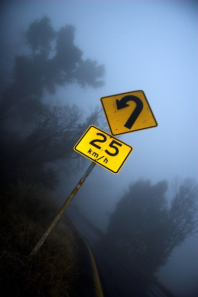 This road sign loomed out of the mist.