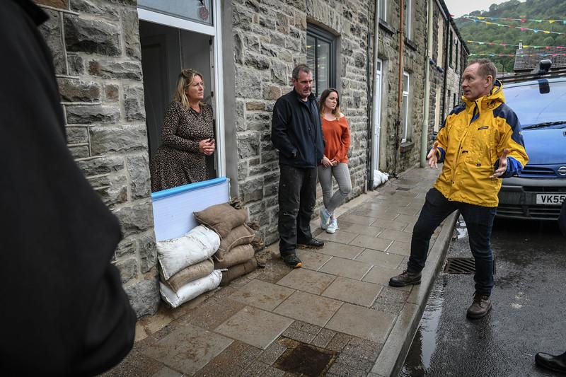 UK Weather : Flooding, Pentre, Rhondda Valley.