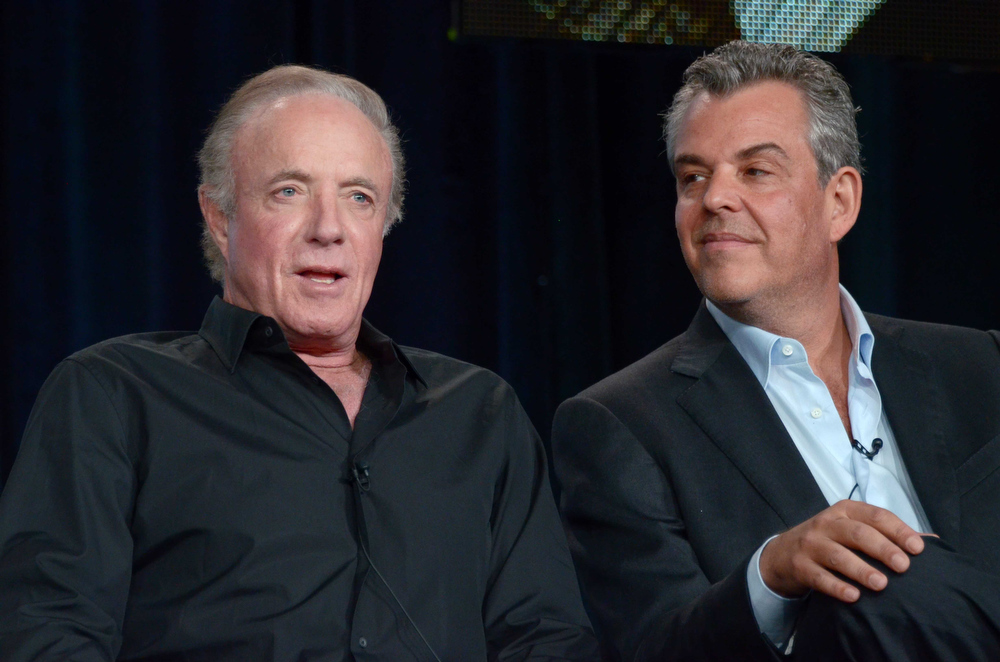 ". James Caan, left and Danny Huston attend the panel discussion for ""Magic City\"" during the Starz Winter TCA Tour at the Langham Huntington Hotel on Saturday, Jan. 5, 2013, in Pasadena, Calif. (Photo by Richard Shotwell/Invision/AP)"
