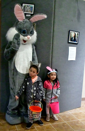 4/19/2019 Mike Orazzi | Staff William and Grace Robles, 6 and 3, pose with the Easter Bunny during the annual egg hunt at the Harry C Barnes Memorial Nature Center in Bristol on Friday morning.