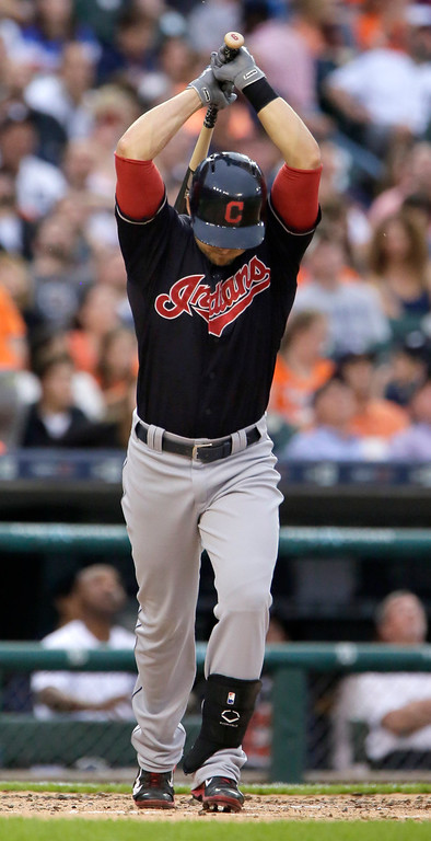. Cleveland Indians\' Ryan Raburn reacts after hitting a fly ball in the fourth inning for an out against the Detroit Tigers of a baseball game Friday, June 12, 2015, in Detroit. The Tigers defeated the Indians 4-0. (AP Photo/Duane Burleson)