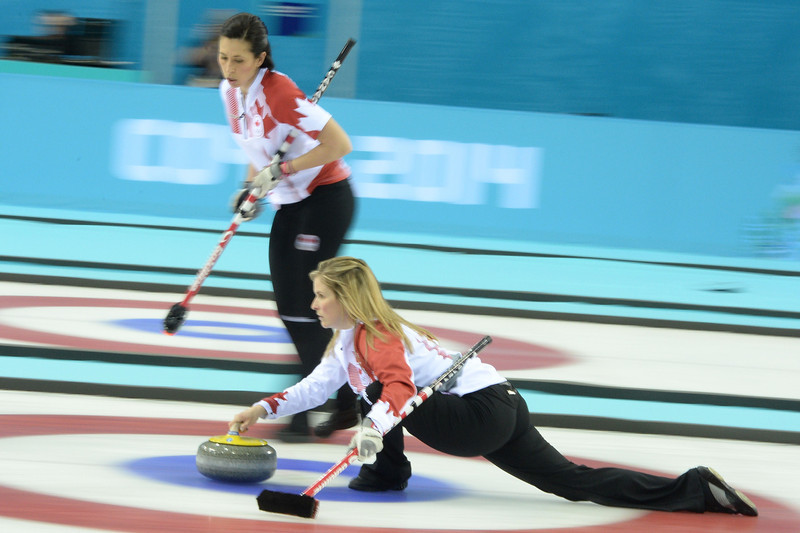 . Canada\'s Jennifer Jones throws the stone during the Women\'s Curling Gold Medal Game Sweden vs Canada at the Ice Cube Curling Center during the Sochi Winter Olympics on February 20, 2014.  JUNG YEON-JE/AFP/Getty Images