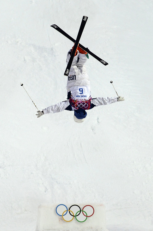 . US Bradley Wilson competes in the Men\'s Freestyle Skiing Moguls qualifications at the Rosa Khutor Extreme Park during the Sochi Winter Olympics on February 10, 2014.       AFP PHOTO / FRANCK FIFE/AFP/Getty Images