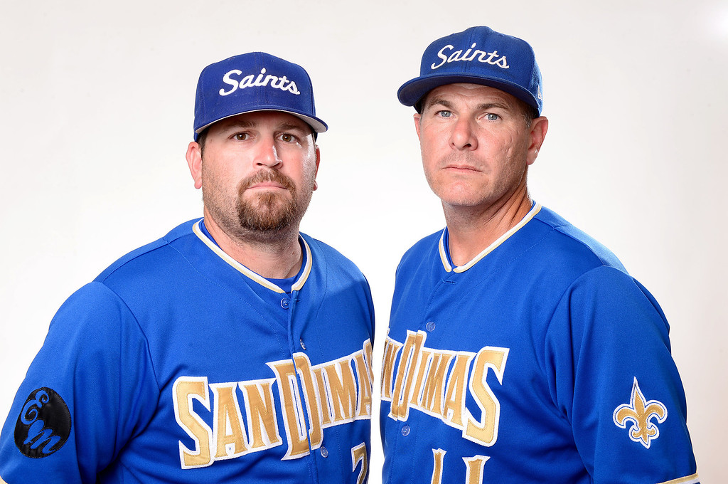. Mark Chiappelli, left and Mike Regan have been named Coaches of the Year to the Inland Valley Daily Bulletin\'s All Area baseball team. Chiappelli and Regan are coaches at San Dimas High School. Sarah Reingewirtz staff photo Inland Valley Daily Bulletin.