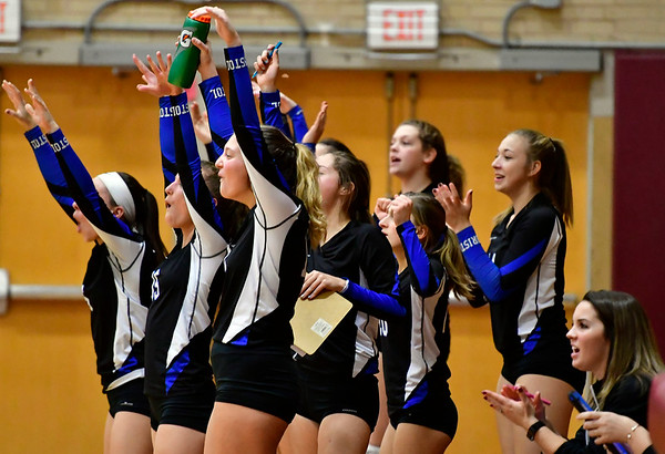 11/14/2018 Mike Orazzi   Staff Bristol Eastern celebrates during the Class L Semifinal State Girls Volleyball Tournament with Woodstock Academy held at Windsor High School Wednesday night.