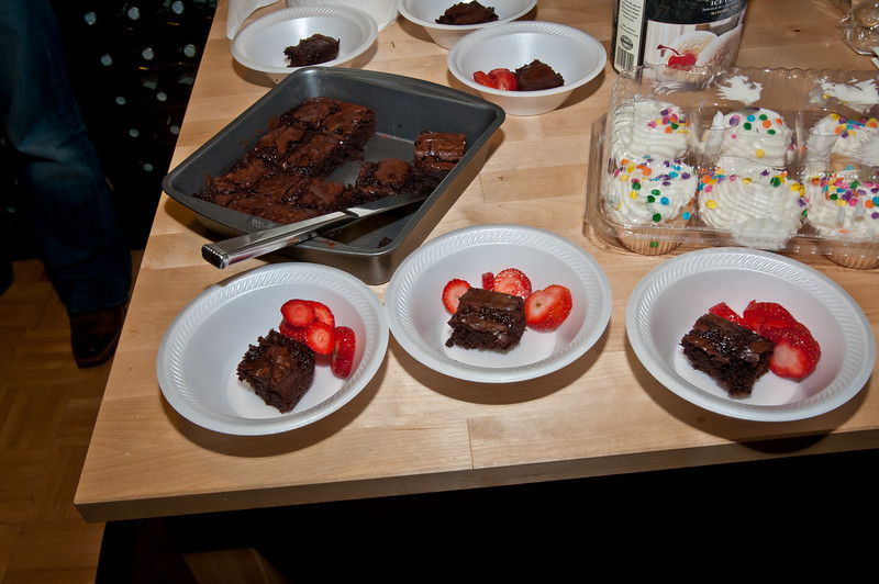 I made yummy brownies (Ghiradelli brownies and then added some delicious Jesup Cellars Zinfindel Chocolate Port Sauce on top) -- Sasha added strawberries to make them even yummier!