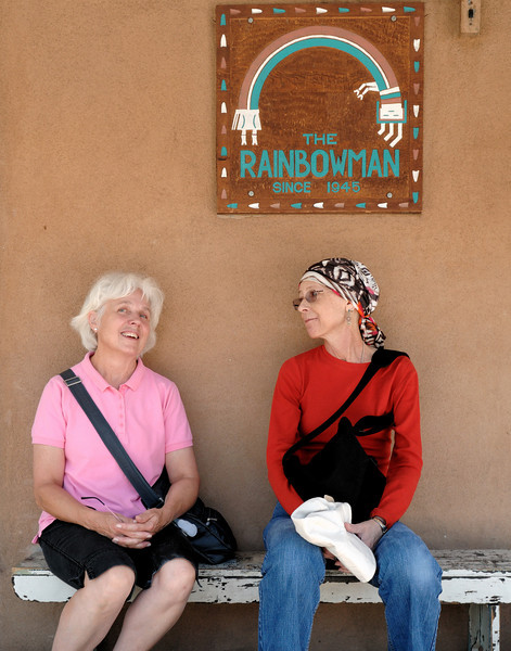 Lyn and Susan, idling outside a store older that any of us, but more recent than 1610.  Santa Fe, New Mexico: our September 2010 trip.