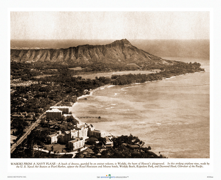 358: 'Waikiki From a Navy Plane' Sepia-toned photo published in Paradise of the Pacific, ca. 1938.