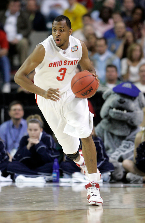 . Ohio State forward Ivan Harris (3) runs upcourt during their men\'s semifinal basketball game against Georgetown in the second half  at the Final Four in the Georgia Dome in Atlanta Saturday, March 31, 2007. (AP Photo/Mark Humphrey)