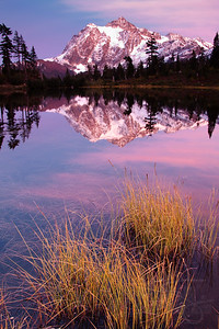 Mount Shuksan reflected in Picture Lake. Mount Baker -Snoqualmie National Forest. WA