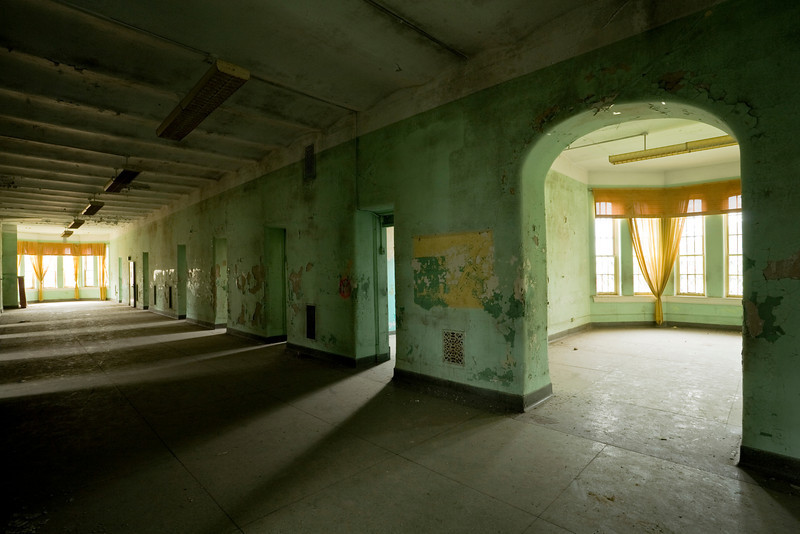 Ward corridor in the Kirkbride building at Athens State Hospital, the second-largest example of the linear plan ever constructed.