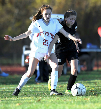 10/23/2019 MIke Orazzi | StaffrTerryville's Alivia Cote (17) and Northwestern's Sophia D'Urso (22) during girls soccer at Terryville High School on Wednesday.