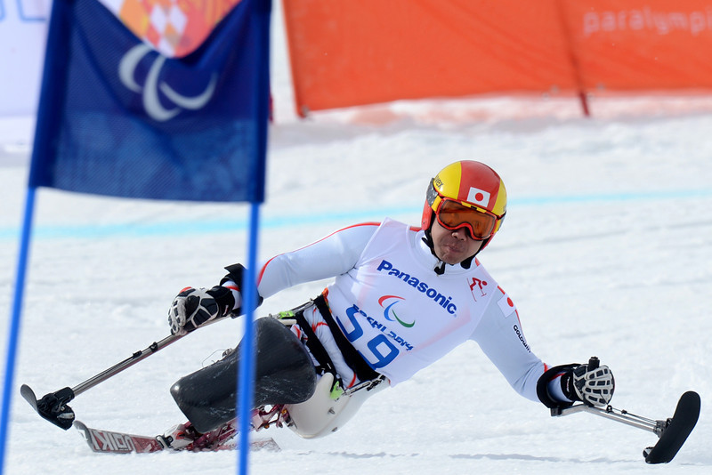 . Japan\'s Takeshi Suzuki competes to bronze duringthe  Men\'s Downhill Sitting at XI Paralympic Olympic games in the Rosa Khutor stadium close to  Sochi on March 8, 2014. (KIRILL KUDRYAVTSEV/AFP/Getty Images)