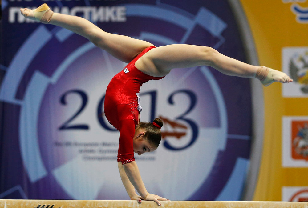 . Russia\'s Aliya Mustafina competes on the balance beam during the women\'s all-around final at the European Men\'s and Women\'s Artistic Gymnastic individual Championships in Moscow April 19, 2013.  REUTERS/Grigory Dukor