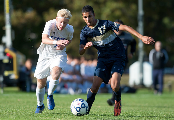 10/15/19 Wesley Bunnell | StaffrrPlainville boys soccer defeated host Newington 2-1 on Tuesday afternoon. Logan Miller (7) and Yousef Khadrani (17).