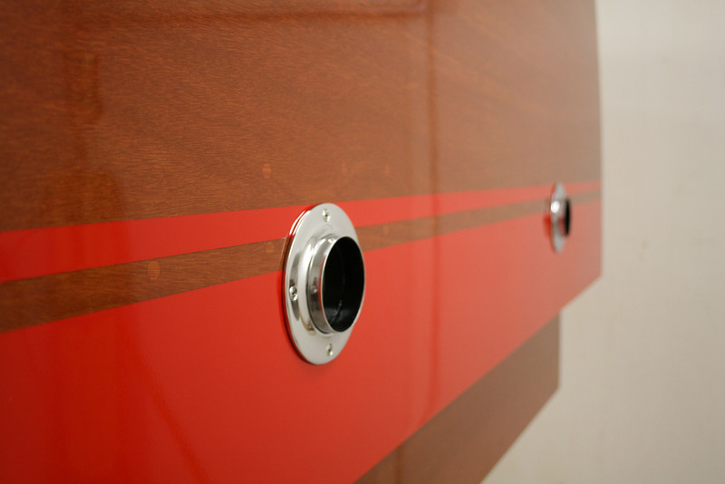 Transom with exhaust pipes.