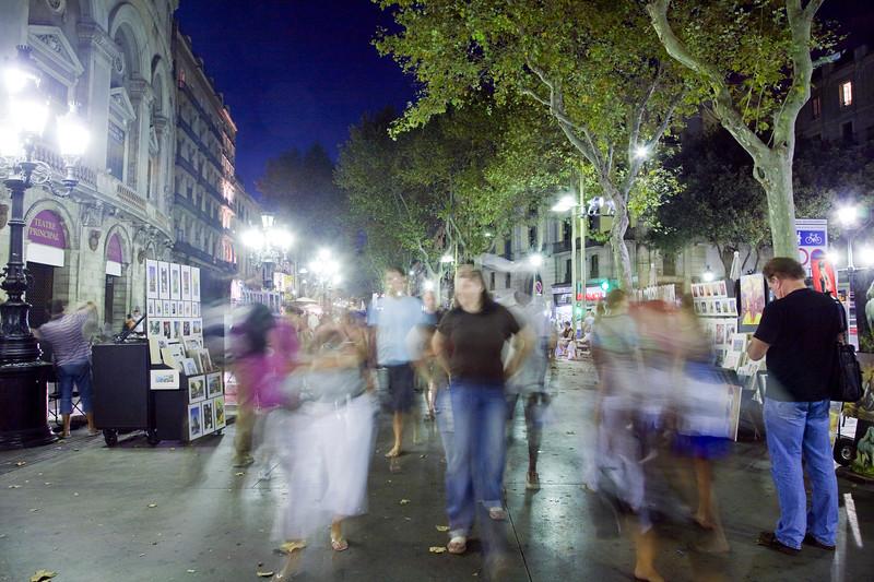 Night scene on Las Ramblas street, town of Barcelona, autonomous commnunity of Catalonia, northeastern Spain