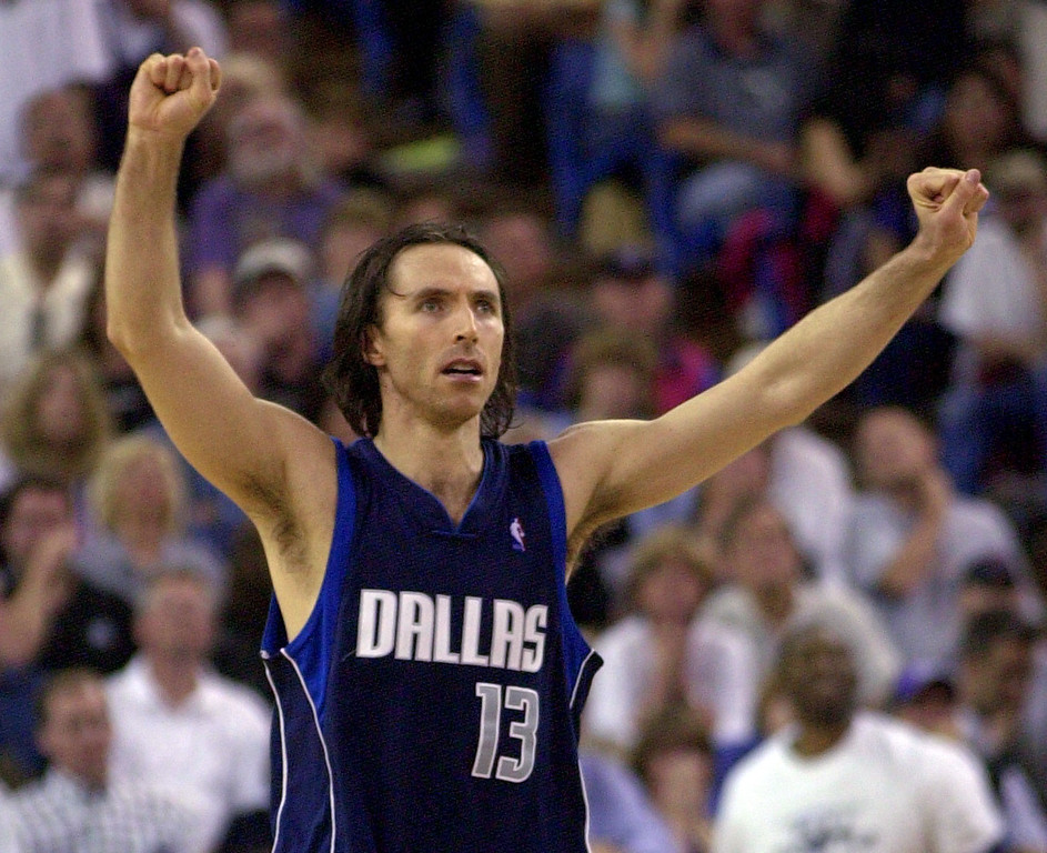 . Dallas Mavericks\' Steve Nash celebrates after the Mavericks beat the Sacramento Kings 141-137 in double overtime in Game 3 of the Western Conference semifinals in Sacramento, Calif., Saturday, May 10, 2003. (AP Photo/Rich Pedroncelli)