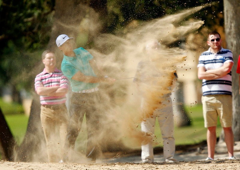 . Thorbjorn Olesen of Denmark plays a shot at the second hole during the fourth and final round of the Dubai Desert Classic at the Emirates Golf Club February 3, 2013. REUTERS/Jumana El Heloueh
