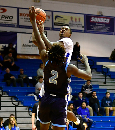 12/7/2019 Mike Orazzi | StaffrCCSU's Zach Newkirk (10) during Saturday's mens basketball game with the University of Maine in New Britain.