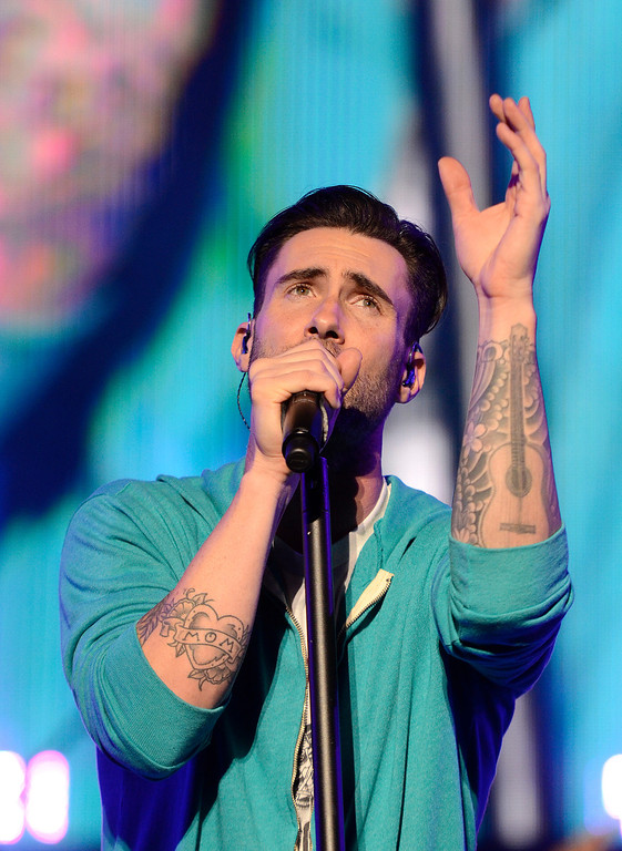 . Adam Levine sings as Maroon 5 takes the stage Thursday at SPAC. Photo Ed Burke/SARATOGIAN 9/5/13