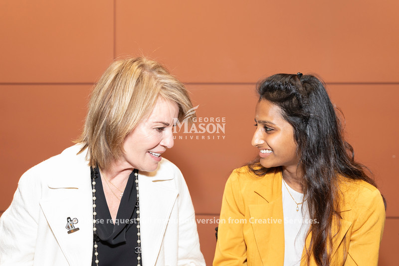 Amazon World Wide Public Sector Vice President Teresa Carlton speaks with senior Dolica Gopisetty at an AWS cloud computing degree launch event. Photo by Lathan Goumas/Office of Communications and Marketing   Photo Taken:Friday, September 20, 2019