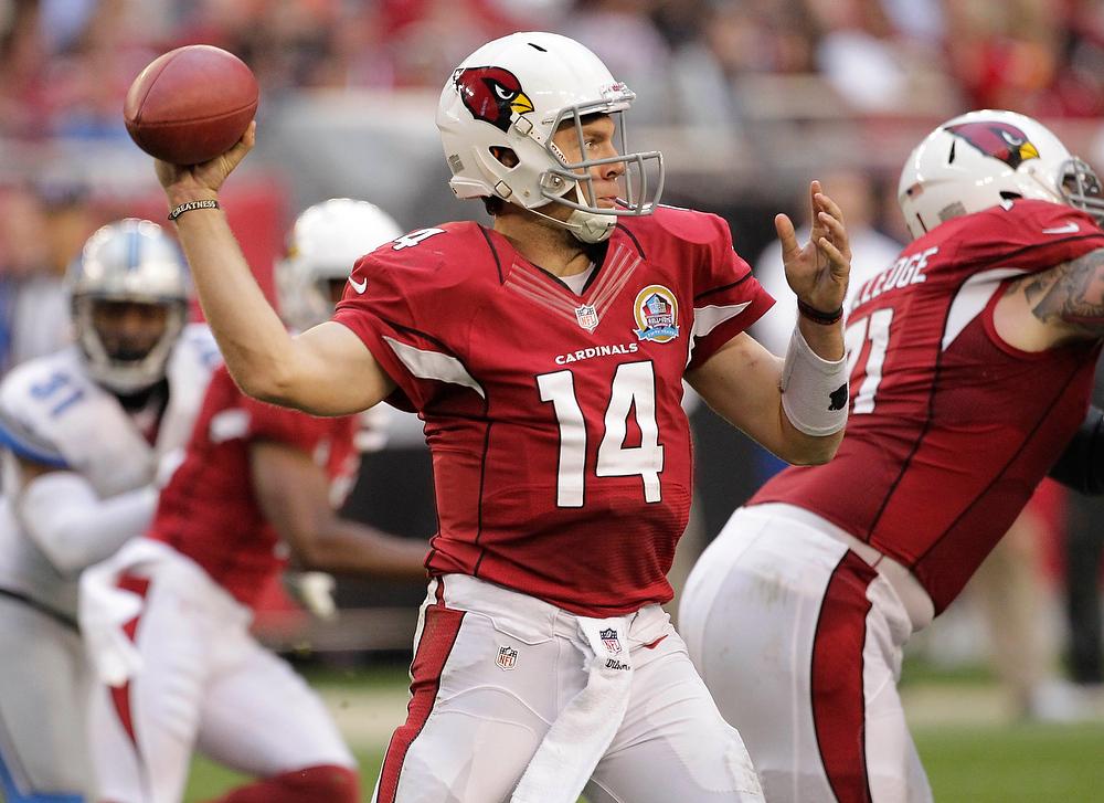 . Arizona Cardinals quarterback Ryan Lindley (14) throws against the Detroit Lions during the second half of an NFL football game on Sunday, Dec. 16, 2012, in Glendale, Ariz. (AP Photo/Matt York)