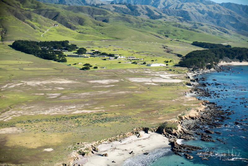 Grazing land as shot from above Big Sur.
