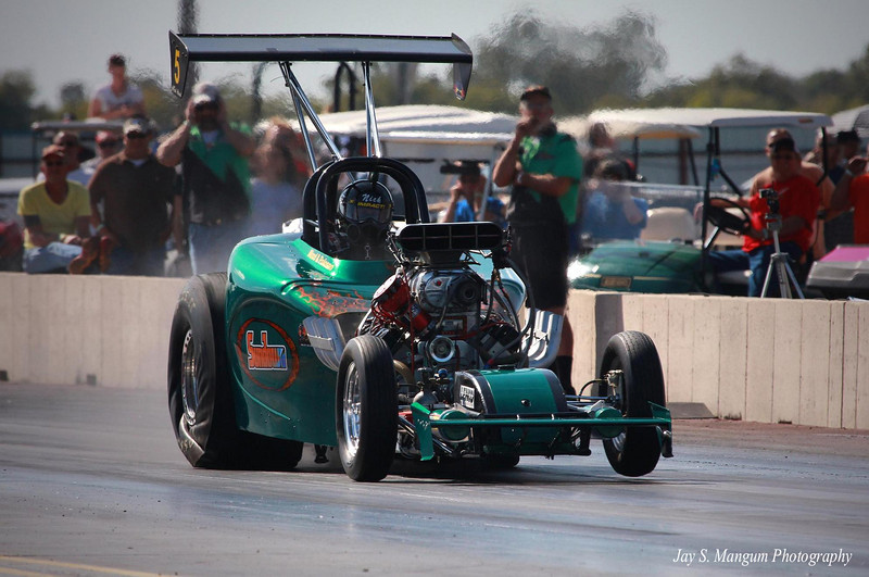 """""""Sundown"""" Fuel Altered roadster early in a run."""
