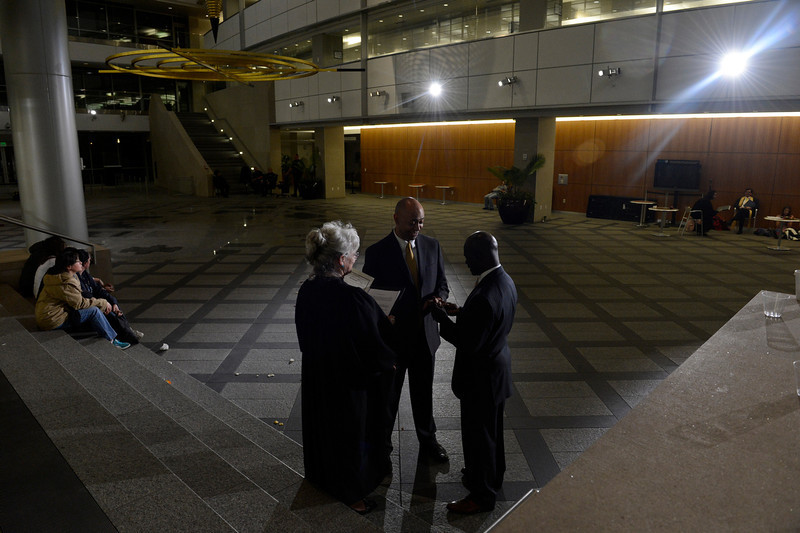 . DENVER, CO. - MAY 01: At 3:15 a.m. Claire Mootz, a retired Denver county court magistrate, marries a couple in the atrium of the Webb Building in  Denver CO, April 30, 2013.  The Clerk and Recorder\'s Office opened for business from midnight to 3 a.m. to issue civil union licenses to couples on May 01, 2013 when the Civil Union Act became law. One Colorado offered a civil-union celebration for couples in the building\'s atrium from midnight to 2 a.m., as judges, magistrates and other officiants performed the ceremonies. Colorado became the latest state to recognize the legal rights of same-sex couples � through marriage or civil unions � when Gov. John Hickenlooper signed state Senate Bill 11 into law March 21. (Photo By Craig F. Walker/The Denver Post)