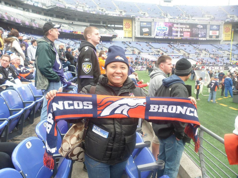 . A proud Broncos fan in Ravenstown. Karen Ward