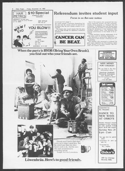 Daily Trojan, Vol. 92, No. 53, November 19, 1982