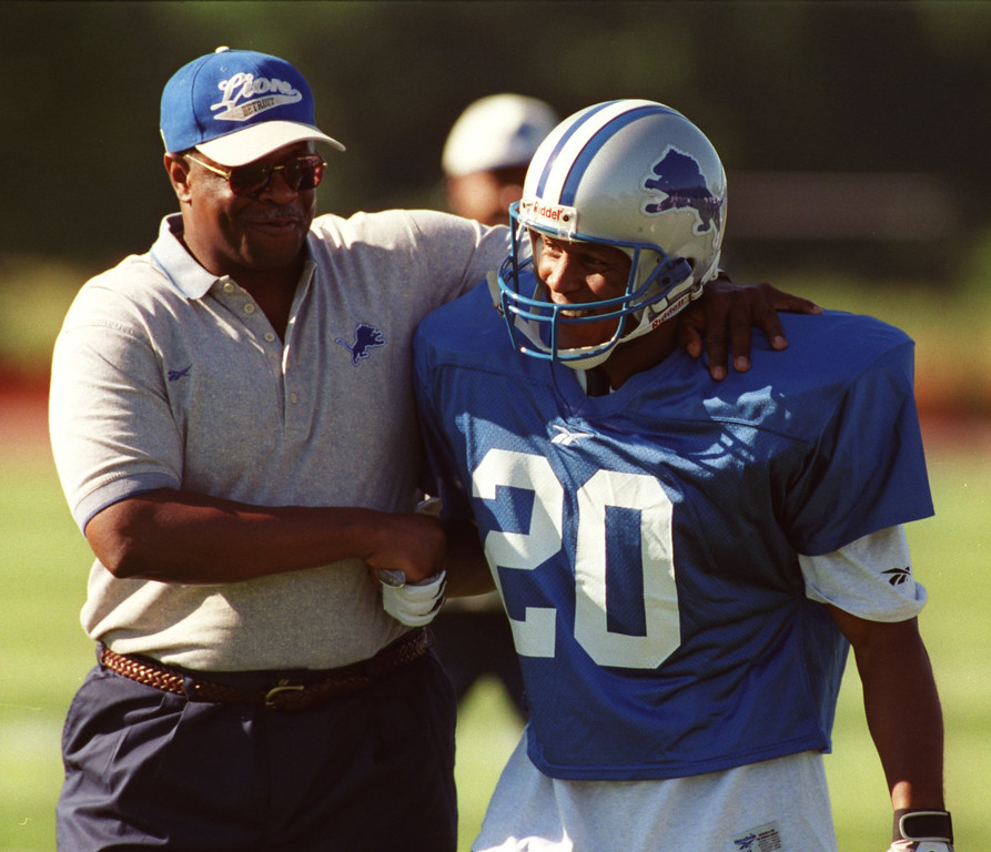 . Barry welcomed back by Lions coaching staff as he makes his appearance on the practice field.