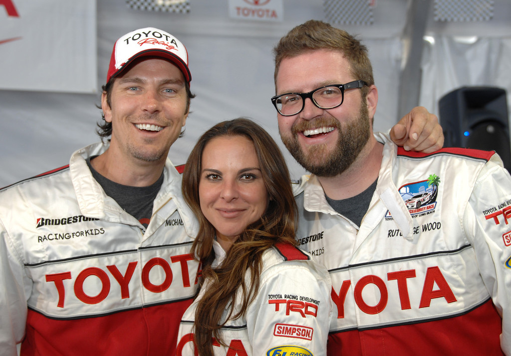. 4/9/13 - L-R Michael Trucco, Kate del Castillo and Rutledge Wood during media day for the 39th Annual Toyota Grand Prix of Long Beach. The celebrity/pro races spent the day practicing on the track, joking with their racing partners and giving interviews. Photo by Brittany Murray / Staff Photographer