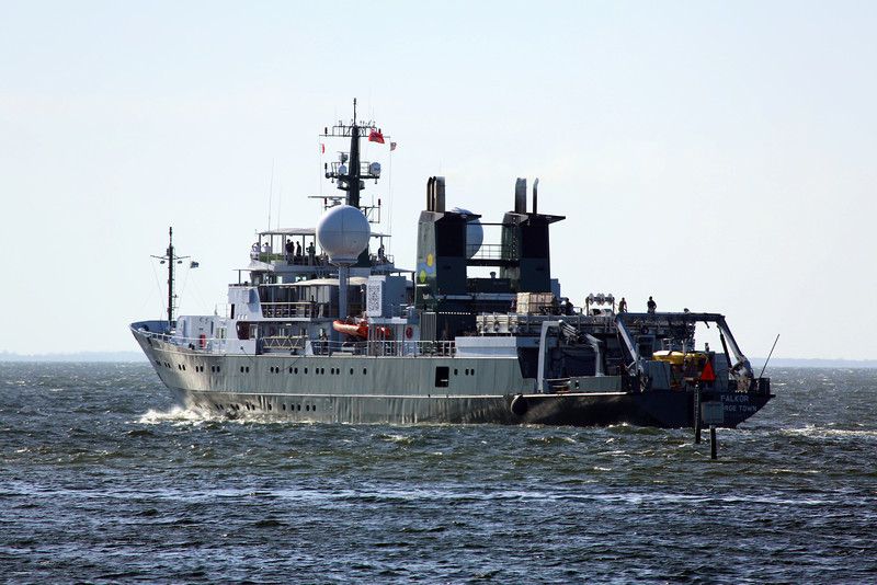 Our final dock is in St. Petersburg.  The research vessel Falkor leaves the harbor.