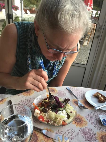Delicious salad at  Hotel Susom Surlej in Silvaplana