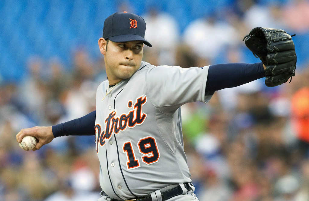 . Detroit Tigers pitcher Anibal Sanchez throws against the Toronto Blue Jays during the first inning of a baseball game, Friday, Aug. 8, 2014 in Toronto. (AP Photo/The Canadian Press, Fred Thornhill)