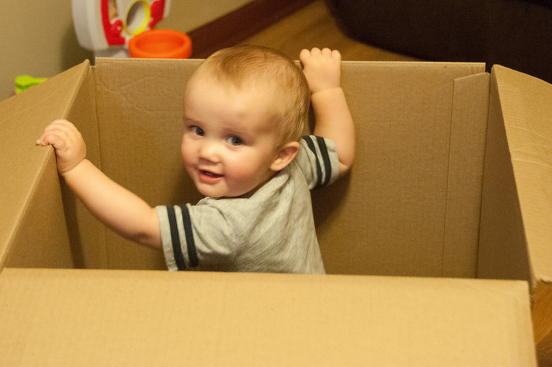 Breyden in the box for his Big Boy Seat