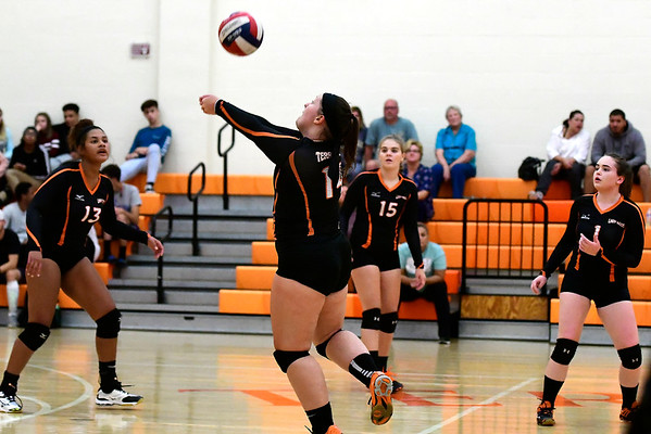 9/13/2018 Mike Orazzi | Staff Terryville's Hailey Marin (14) during Thursday's match at Terryville High School.
