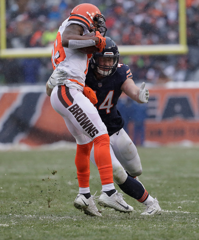 . Chicago Bears inside linebacker Nick Kwiatkoski (44) tackles Cleveland Browns wide receiver Corey Coleman (19) in the second half of an NFL football game in Chicago, Sunday, Dec. 24, 2017. (AP Photo/Nam Y. Huh)