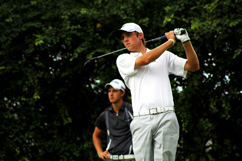 Round two leader Chris Williams, 20, of Moscow, Idaho, tees off in the third round Thursday.